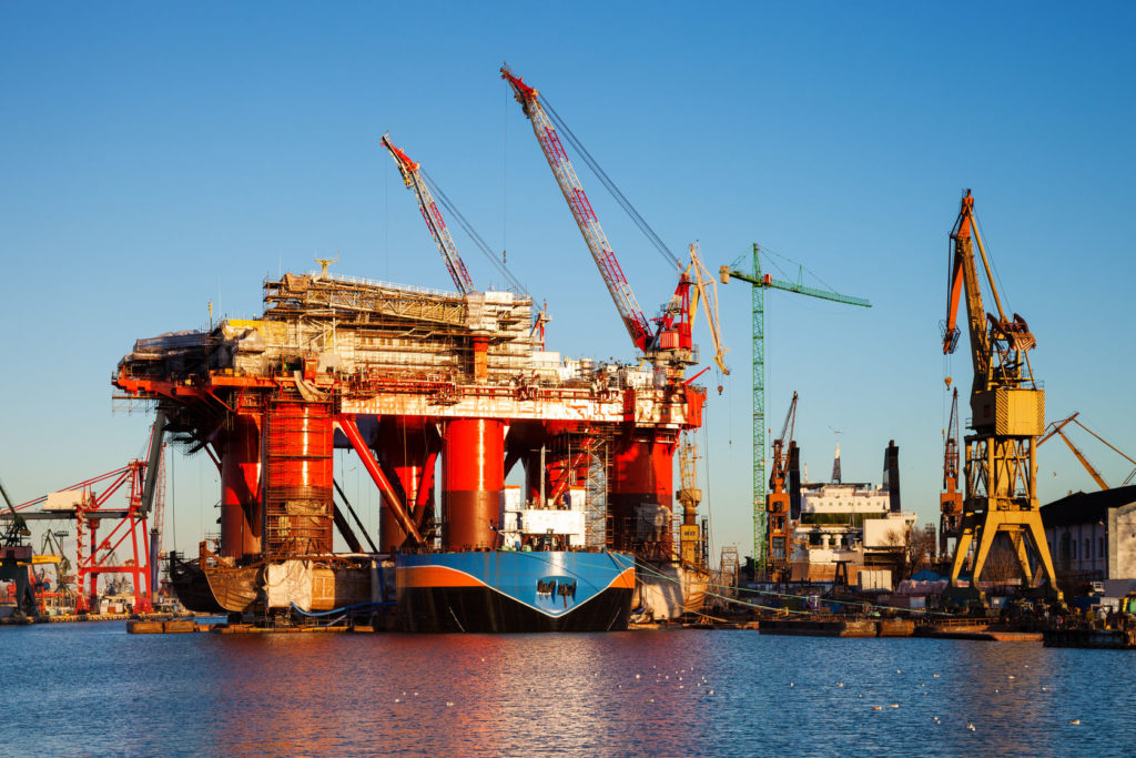 24006554 - oil rig under construction in the shipyard of gdansk, poland